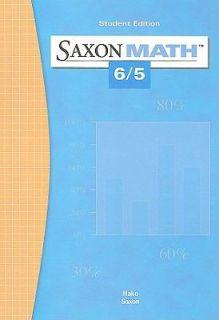Saxon Math 6 5 by John Saxon and Stephen Hake 2003, Hardcover, Student