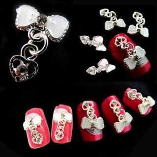 12x Alloy 3D Rhinestone Crystal Heart Bow Tie Nail Art Decoration Tips