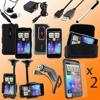 11 pc Accessory Bundle Case Charger Cable for HTC EVO 3D Sprint