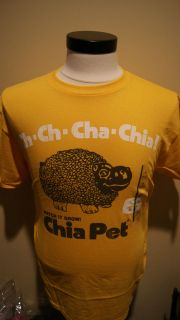 NWT VINTAGE CHIA PET AS SEEN ON TV WATCH IT GROW T SHIRT M XL GOLD