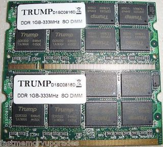 2GB PC2700 DDR SODIMM (1GB X2) DELL LATITUDE D800 X300 NOTEBOOK LAPTOP