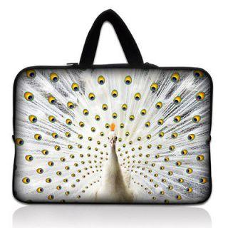 White Peacock Soft Neoprene Laptop Sleeve Case Bag Pouch + Hide Handle