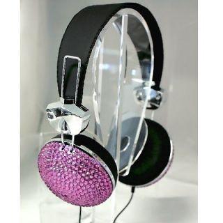 Crystal Rhinestone Bling Stereo Headphones, 3.5mm Plug with Microphone