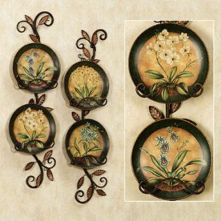 Orchid Decorative Plate Set 4 Asian Oriental Wall Decor (Rack not incl