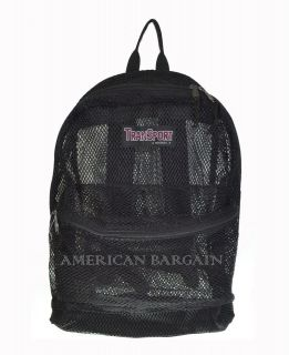"Black 17"" Transparent /See Through/Mesh Backpack/Book Bag School Bag"