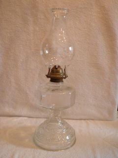 Vintage P&A EAGLE MADE IN USA Clear Glass Oil Lamp With Hurricane
