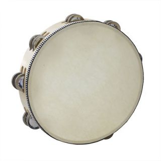 Handheld Wooden 10 Inch Tambourine w/ Skin & 16 Pair of Jingle Bell