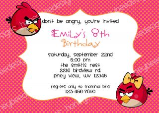 Angry Birds Birthday Party Invitations Personalized Printable Pink