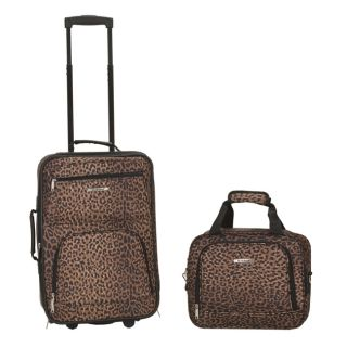 Rockland Rio Upright Carry On & Tote 2 Piece Luggage Set   Leopard