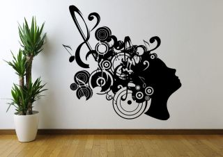 MUSIC NOTE HEAD RETRO ABSTRACT WALL ART STICKER DECAL MURAL STENCIL