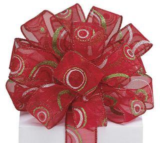 Circles Glitter Christmas Ribbon 5 yards 1.5 wired Bow Craft Decor