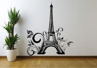 EIFFEL TOWER FLOWERS PARIS WALL ART STICKER DECAL MURAL STENCIL VINYL