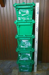 Green FlipPak Attached Lid Plastic Storage Containers,Totes,Shipping