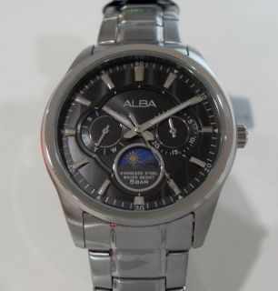 ALBA MENS WATCH SUN MOON 24H Stainless Steel AS5005X1