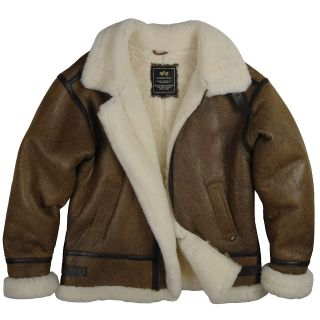 ALPHA INDUSTRIES B 3 SHERPA AIR FORCE LEATHER SHEEPSKIN BOMBER JACKET