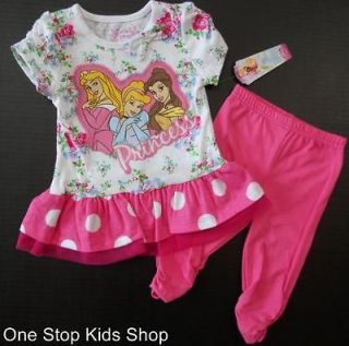PRINCESS Toddler Girls 2T 3T 4T Set OUTFIT Shirt Capris Belle Aurora