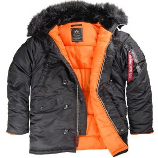 ALPHA INDUSTRIES SLIM N 3B COLD WEATHER PARKA BLACK/ORANGE WITH BLACK