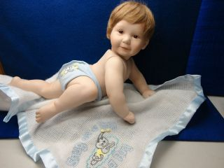 ASHTONE DRAKE BABY BOY PORCELAIN DOLL WITH BLANKET