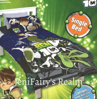 BEN 10 Alien Force Blue Green SINGLE Quilt/Doona Cover Set LIC
