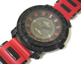 Iced Out Bling Bling Hip Hop Mens Watch Black / Red