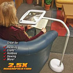 Lighted Full Page Magnifier Comes with Free Standing Goose Neck Stand