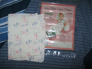 VINTAGE CHIX BRAND ROBIN HOOD CLOTH DIAPERS AND MAGAZINE AD WITH DREFT