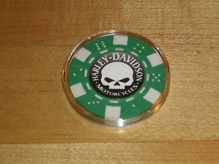 Green Alien Harley Davidson Poker Chip***