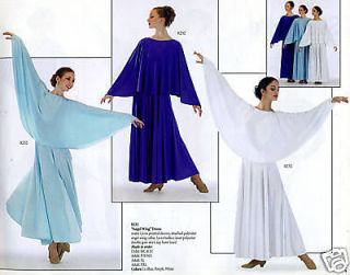 WHITE Liturgical Praise Church Dance Dress 232 C M 8 10