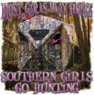 Dixie Tshirt: Most Girls Play House Southern Girls Go Hunting Camo