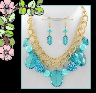 Something Blue Charm Necklace Set Destination Wedding Bridal Jewelry