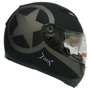 STAR MATTE BLACK DUAL VISOR FULL FACE MOTORCYCLE HELMET W/SMOKE SUN