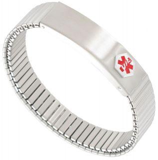 Bracelet Mens MenS Brushed Stainless Steel Medical Alert Expansion