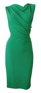 Emerald Green Stretch Twist Front Shift Dress Farrah Size 8 New