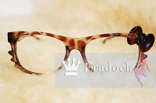 Leopard  Hello Kitty bow Style Lovely Fashion Frame Glasses Nerd