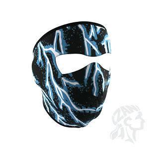 Zan Headgear Neoprene Full Face Mask Black with Blue lighting Bolts