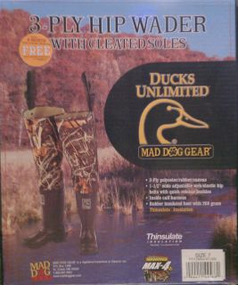 Ducks Unlimted Mad Dog Gear 3 Ply Hip Wader with Cleated Sole