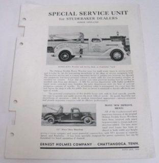 Studebaker 1938 Holmes Wrecker & Truck Bodies Brochure