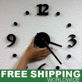 Modern Interior Decorative Wall Clock Self Adhesive DIY Black or White