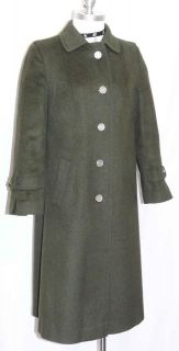 GREEN ~ LODEN BOILED WOOL ~ Women GERMAN Long WARM Winter Trench Over