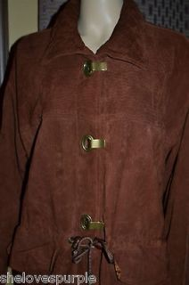 VAKKO Vtg Womens Whiskey Hook Toggle Drawstring SOFT LEATHER Coat BoHo