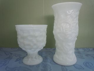 Vintage Antique White Milk Glass Textured Vase & Planter EO BRODY USA