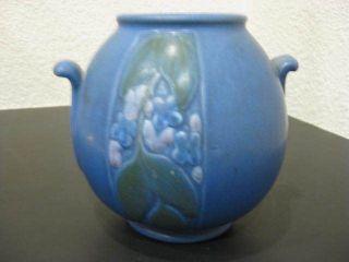 Vtg round Weller Matte Blue Velva Art Deco handle Pottery Vase