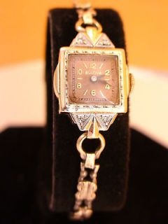 ANTIQUE BULOVA 1929 SWISS 10K GOLD FILL LADIES DIAMOND WATCH SERVICED