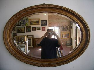 Large Oval Gold Ornate Wall/Mantle Beveled Mirror 30x42