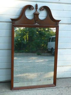 ANTIQUE TRADITIONAL CHIPPENDALE OPEN ARCH SOLID MAHOGANY WALL MIRROR
