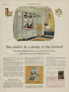 1926 HOOSIER KITCHEN CABINETS AD / THE HOOSIER SUITE OF TWO TONE GREY