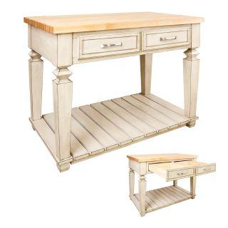 KITCHEN ISLAND WOOD BUTCHER BLOCK ANTIQUE WHITE OR DISTRESSED BLACK