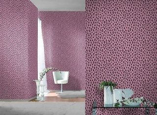 GIRLS PINK BLACK LEOPARD PRINT SAVANNAH FEATURE WALLPAPER 202922 RASCH
