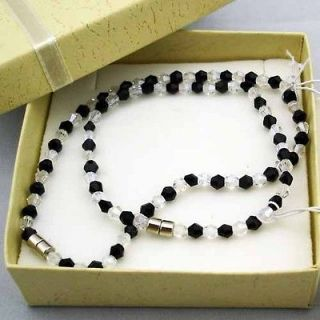 Black White Bicone Crystal Gems Beads Magnetic Anklet