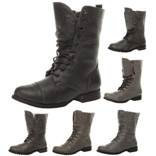 Womens Leopard Lace Up Military Combat Ankle Boots Shoes T3725